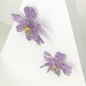 Closet Rehab Jewelry - Mini Crystal Lily Drop Earrings in Purple